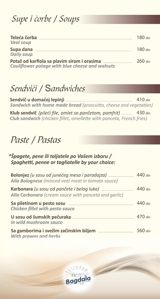 Supe / Sendviči / Paste