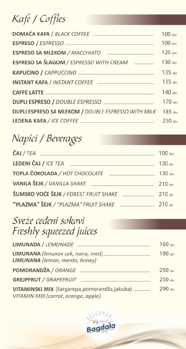 Kafe, napici, sveže ceđeni sokovi / Coffies, Beverages, Freshly Squeezed Juices