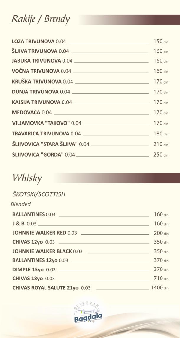 Rakije, viski / Brandy, Whisky