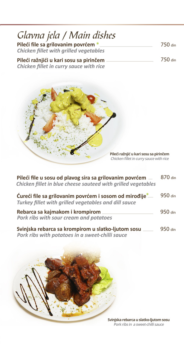 Glavna jela / Main Dishes