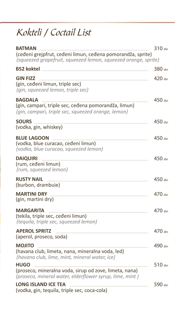 Kokteli / Cocktail list